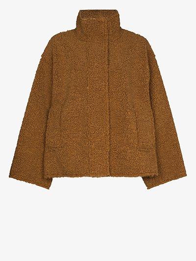 high neck faux shearling coat