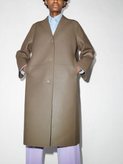 Moa single-breasted leather coat