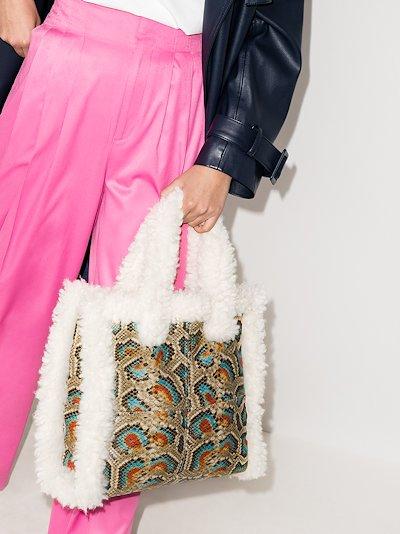 Multicoloured Lolita shearling trim tote bag