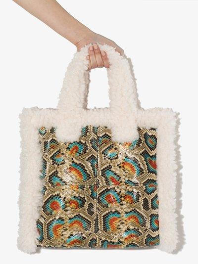 Multicoloured Lolita snake print tote bag