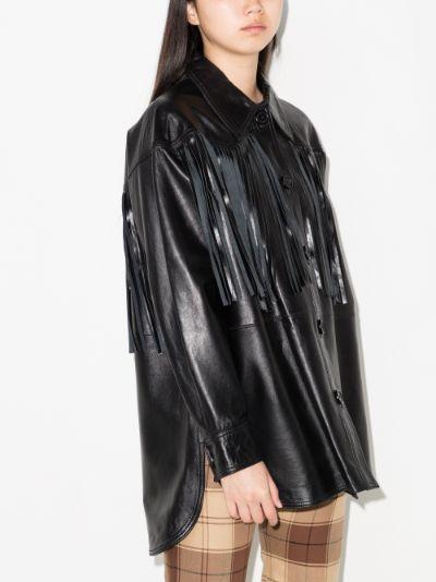 Sabitha fringe leather jacket shirt
