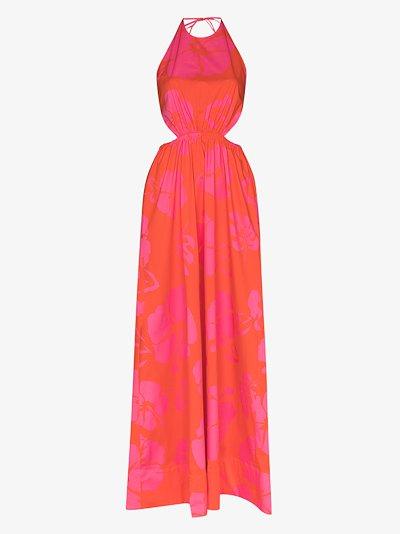 Apfel hibiscus print halterneck maxi dress