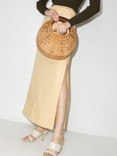 brown Moon woven rattan clutch bag