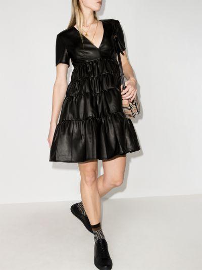 Cocoon faux leather mini dress
