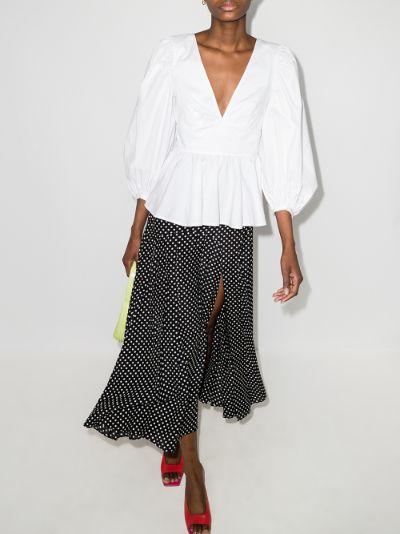 Luna peplum cotton blouse