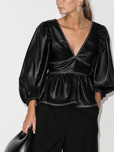 Luna peplum faux leather blouse