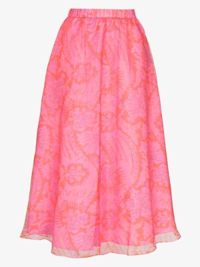 Mattia Printed Organza Midi Skirt
