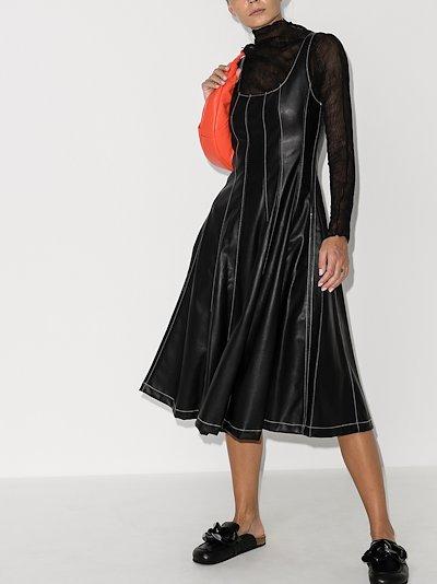 scoop neck faux leather midi dress