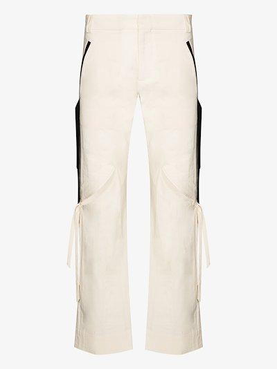 slashed straight leg cotton trousers