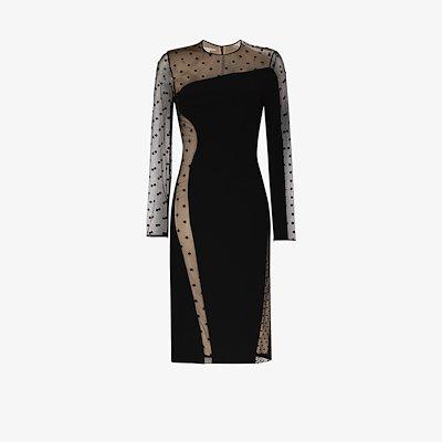 Arielle Polka Dot panelled Midi Dress