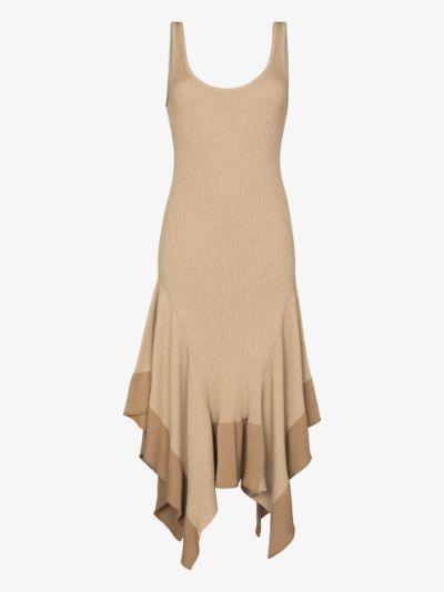 asymmetric ribbed knit midi dress