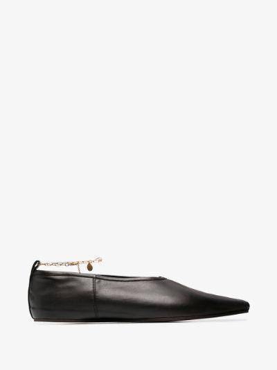 black anklet faux leather pumps