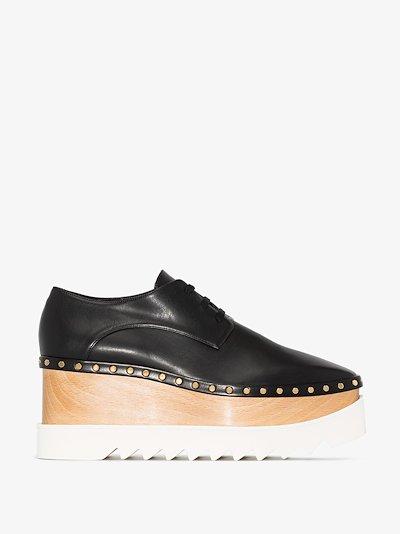 black Elyse studded platform Derby shoes