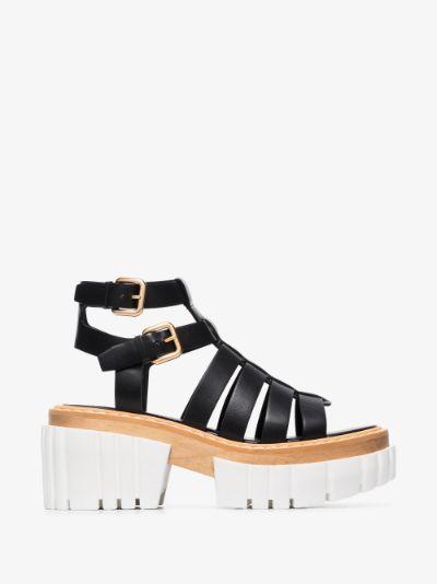 Black Emilie 80 faux leather platform sandals