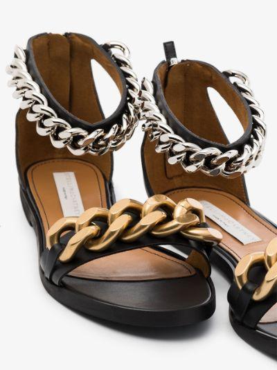 black Falabella faux leather chain sandals