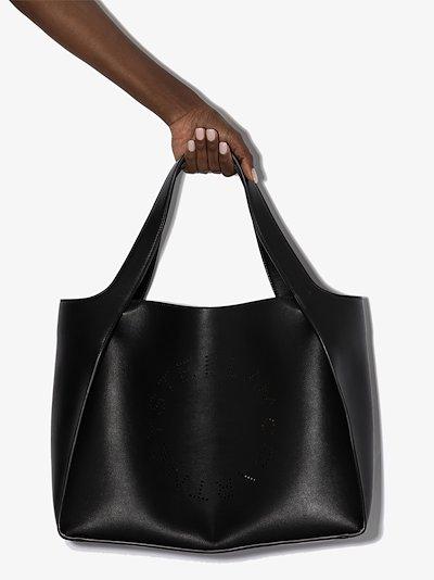 black logo faux leather tote bag