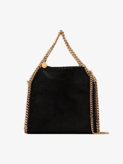 black mini Falabella gold chain tote bag