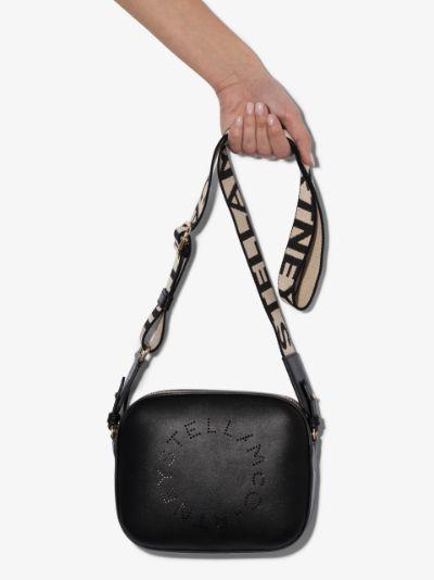 black perforated logo cross body bag