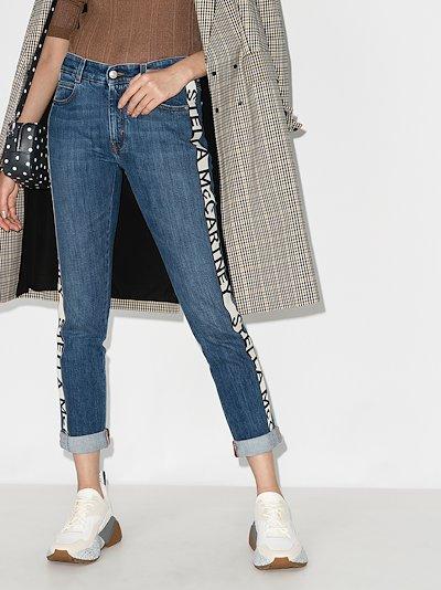 logo stripe cropped eco jeans