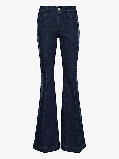 logo stripe flared jeans