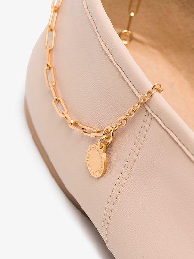 neutral chain faux leather ballerina flats