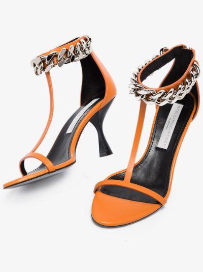 Orange Falabella 80 heeled sandals