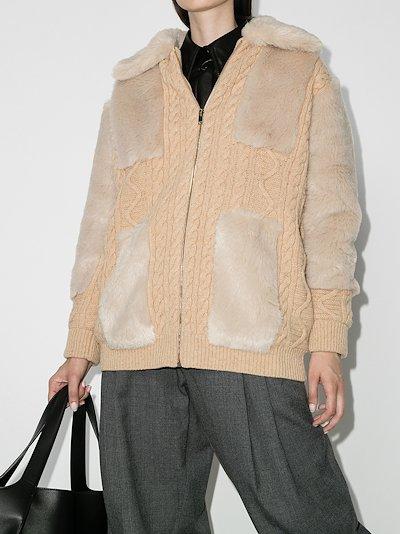 panelled wool cardigan