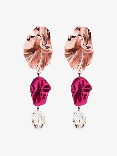 Pink Cindy Crystal Drop Earrings