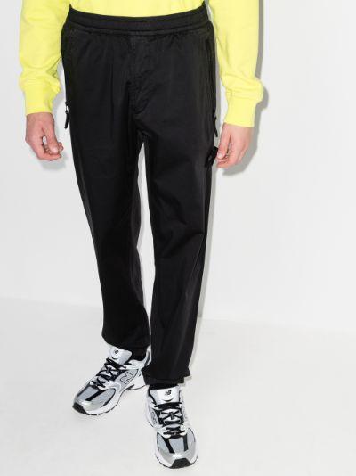 logo-patch straight-leg trousers