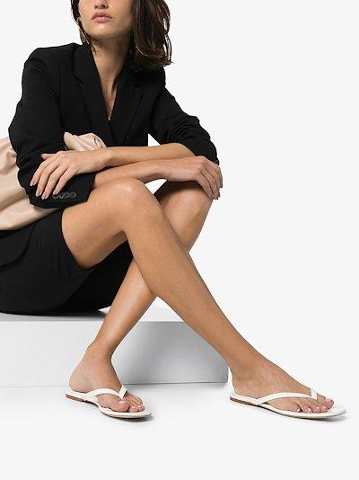 white 2.2 vegan leather sandals