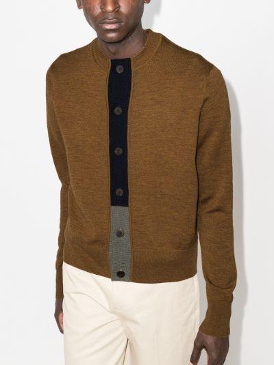 Chas contrast placket merino wool cardigan