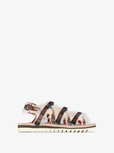 Brown OG-299 faux fur sandals