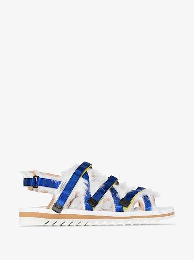 White OG-299 faux fur sandals