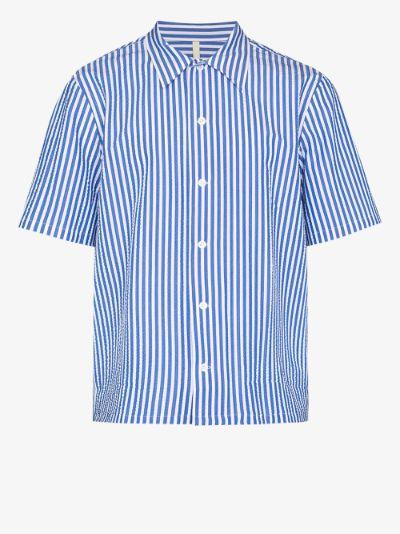 Space striped cotton shirt