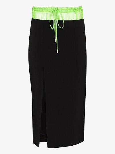 contrast waistband slit skirt