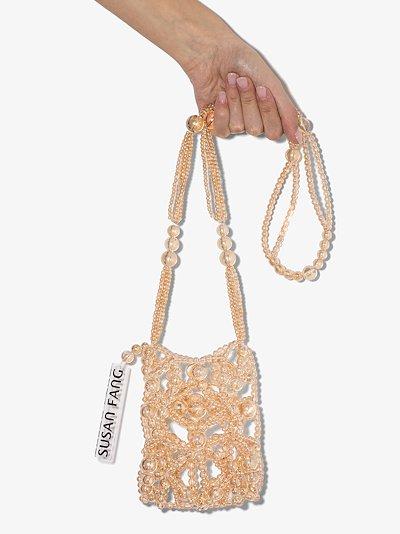 beige Bubble beaded cross body bag
