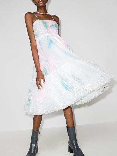 layered feather midi dress