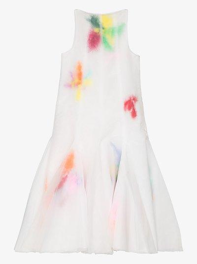 layered feather organza midi dress