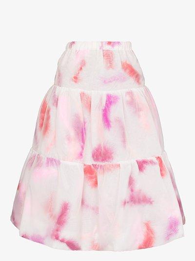 tiered feather midi skirt
