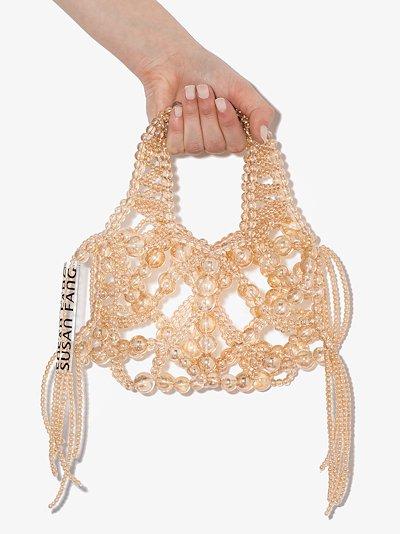 yellow Bubble beaded shoulder bag