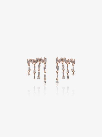 18K rose gold diamond baguette drop earrings