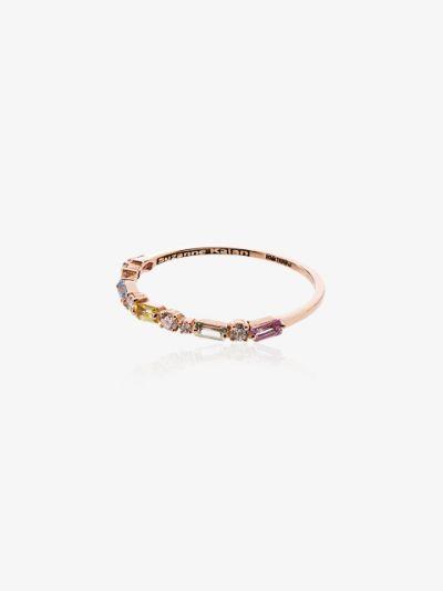 18K rose gold Firework diamond and sapphire ring