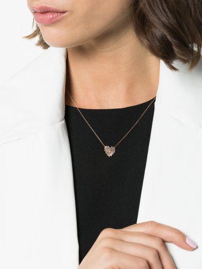 18K rose gold heart diamond necklace