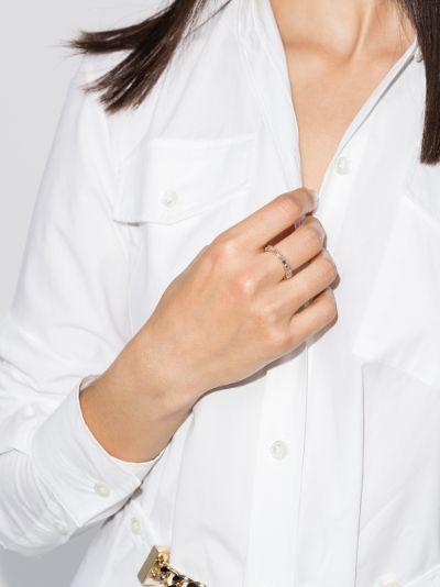 18K rose gold horizontal diamond ring