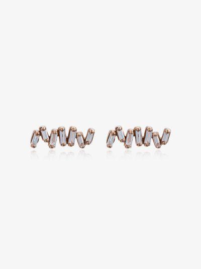 18K rose gold Post Fireworks diamond earrings