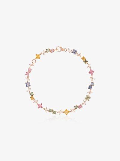 18K rose gold Rainbow Firework sapphire diamond bracelet