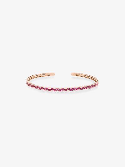 18K rose gold ruby stacked diamond bracelet