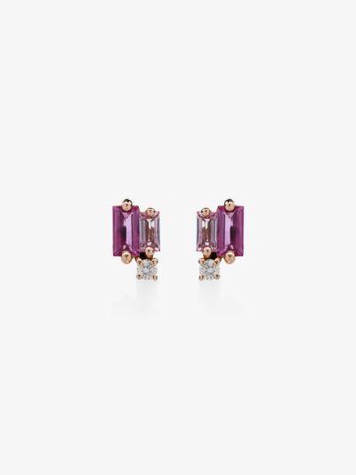 18K rose gold sapphire and diamond stud earrings