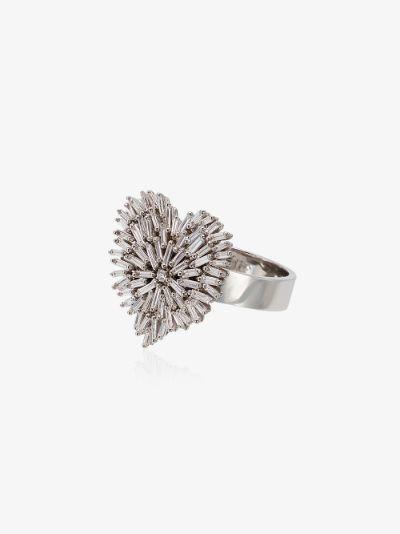 18K white gold fireworks heart diamond ring