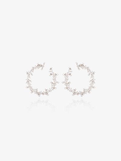18K white gold Fireworks Spiral diamond hoop earrings